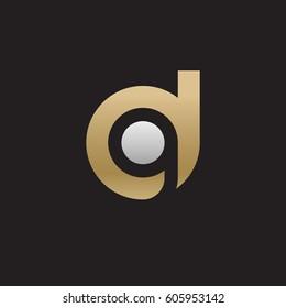 initial logo dg, gd, g inside d rounded letter negative space logo gold silver