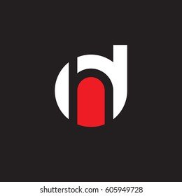 initial logo dh, hd, h inside d rounded letter negative space logo white red black background