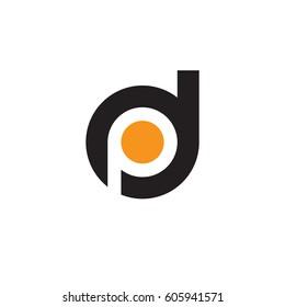 initial logo dp, pd, p inside d rounded letter negative space logo black orange