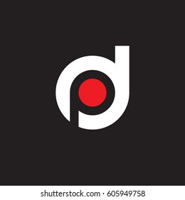 initial logo dp, pd, p inside d rounded letter negative space logo white red black background