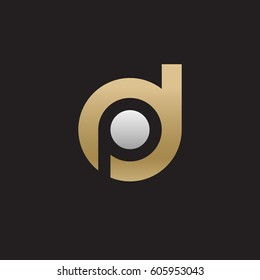 initial logo dp, pd, p inside d rounded letter negative space logo gold silver