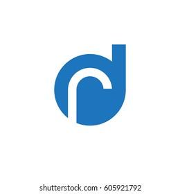 initial logo dr, rd, r inside d rounded letter negative space logo blue