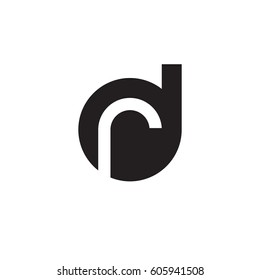 initial logo dr, rd, r inside d rounded letter negative space logo black