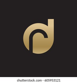 initial logo dr, rd, r inside d rounded letter negative space logo gold