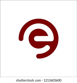 initial logo e inside a rounded letter negative space logo red