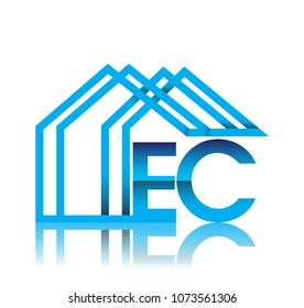 initial logo EC with house icon, business logo and property developer.