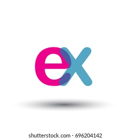 initial logo EX lowercase letter, blue and pink overlap transparent logo, modern and simple logo design.