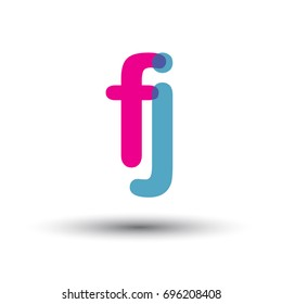 initial logo FJ lowercase letter, blue and pink overlap transparent logo, modern and simple logo design.