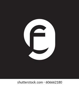 initial logo gf, fg, f inside g rounded letter negative space logo white black background