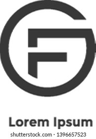 """the initial logo """"GF"""" that is suitable for millennial companies uses the golden ratio aspect"""