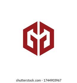 initial logo GG hexagonal vector