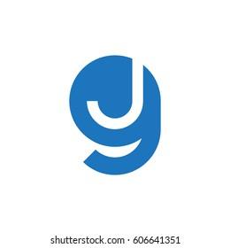 initial logo gj, jg, j inside g rounded letter negative space logo blue