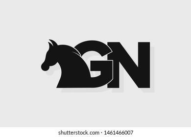 Initial logo GN letter with stallion head. The combination of letters G and N is black