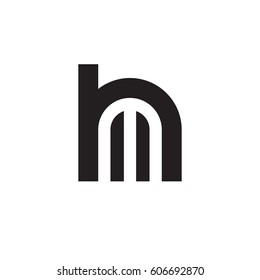 initial logo hm, mh, m inside h rounded letter negative space logo black