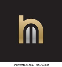initial logo hm, mh, m inside h rounded letter negative space logo gold silver