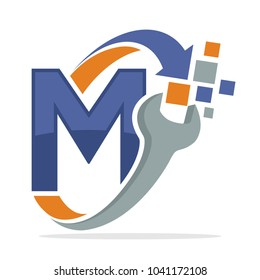initial logo icon for repair business with combination of letter M