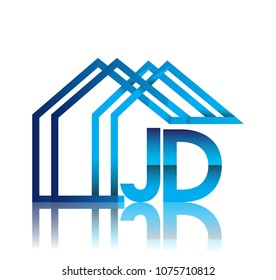 initial logo JD with house icon, business logo and property developer.