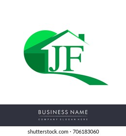 initial logo JF with house icon, business logo and property developer.