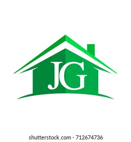 initial logo JG with house icon and green color, business logo and property developer.