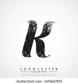 Initial Logo K Letter Tree Branches. Tree Initial Letter Logo Design.