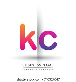 initial logo KC lowercase letter, orange and magenta creative logotype concept, modern and simple logo design.