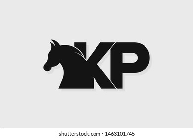 Initial logo KP letter with stallion head. The combination of letters K and P is black