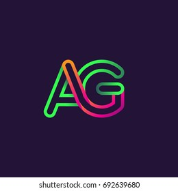 initial logo letter AG, linked outline rounded logo, colorful initial logo for business name and company identity.