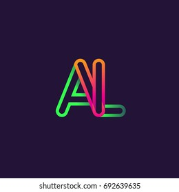 initial logo letter AL, linked outline rounded logo, colorful initial logo for business name and company identity.