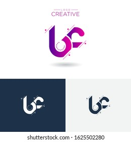Initial logo letter BF lowercase linked sliced template. Modern Abstract Design for business company. Vector Illustration.