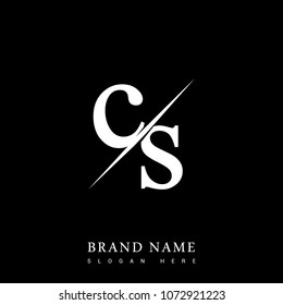 initial logo letter CS for company name black and white color and slash design. vector logotype for business and company identity.