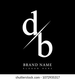 initial logo letter DB for company name black and white color and slash design. vector logotype for business and company identity.