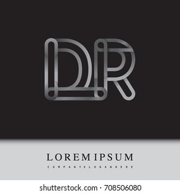 initial logo letter DR, linked outline silver colored, rounded logotype