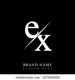 initial logo letter EX for company name black and white color and slash design. vector logotype for business and company identity.