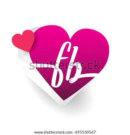 Initial Logo Letter Fb Heart Shape Stock Vector Royalty Free