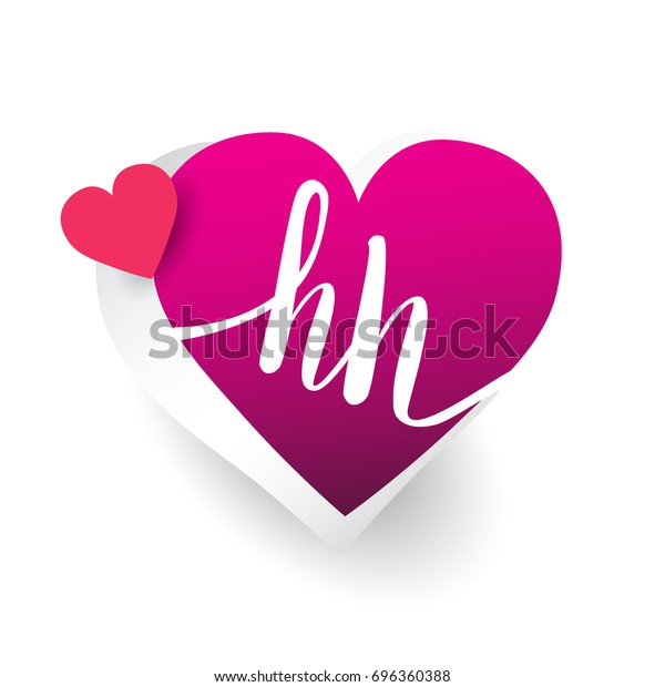 Initial Logo Letter Hh Heart Shape Stock Vector Royalty
