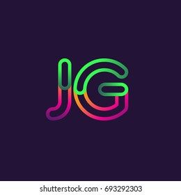 initial logo letter JG, linked outline rounded logo, colorful initial logo for business name and company identity.