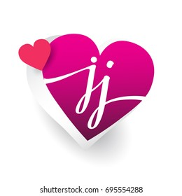 initial logo letter JJ with heart shape red colored, logo design for wedding invitation, wedding name and business name.