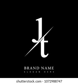 initial logo letter JT for company name black and white color and slash design. vector logotype for business and company identity.