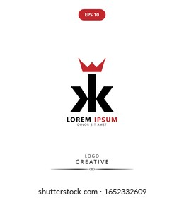 Initial logo letter K KK lowercase linked template. Black letter isolated on white background. Suitable for business, consulting group company. Vector Illustration. EPS 10