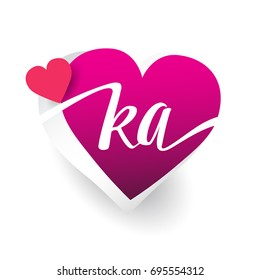initial logo letter KA with heart shape red colored, logo design for wedding invitation, wedding name and business name.