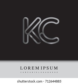 initial logo letter KC, linked outline silver colored, rounded logotype