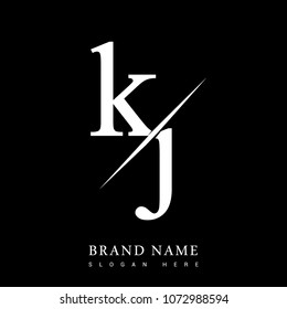 initial logo letter KJ for company name black and white color and slash design. vector logotype for business and company identity.