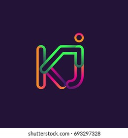 initial logo letter KJ, linked outline rounded logo, colorful initial logo for business name and company identity.
