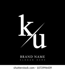 initial logo letter KU for company name black and white color and slash design. vector logotype for business and company identity.