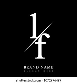 initial logo letter LF for company name black and white color and slash design. vector logotype for business and company identity.