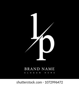 initial logo letter LP for company name black and white color and slash design. vector logotype for business and company identity.