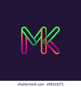 initial logo letter MK, linked outline rounded logo, colorful initial logo for business name and company identity.