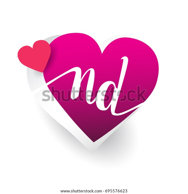 Initial Logo Letter Nd Heart Shape Stock Vector Royalty Free