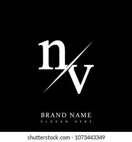 initial logo letter NV for company name black and white color and slash design. vector logotype for business and company identity.