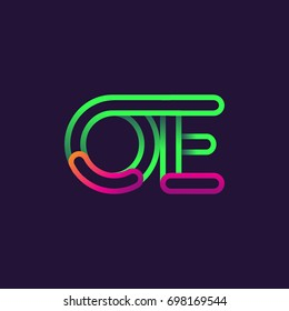 initial logo letter OE, linked outline rounded logo, colorful initial logo for business name and company identity.